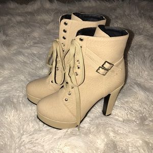 Shoes - Tan High Heeled Lace Up Boots